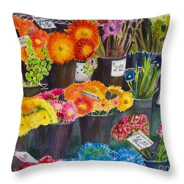The Flower Market Throw Pillow