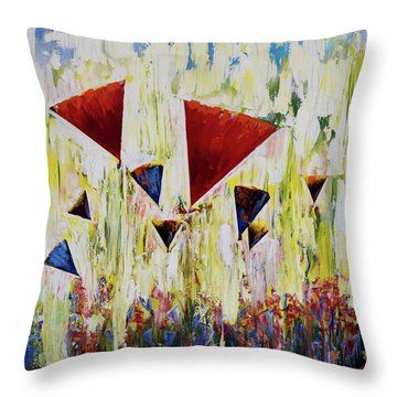 The Flower Party Throw Pillow