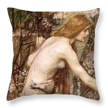 The Flower Picker  Throw Pillow by John William Waterhouse