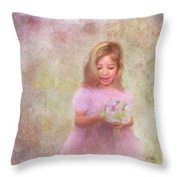 Throw Pillow featuring the mixed media The Flower Princess by Colleen Taylor