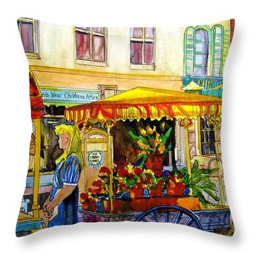 The Flowercart Throw Pillow by Carole Spandau