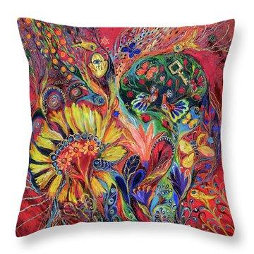 The Flowering Throw Pillow by Elena Kotliarker