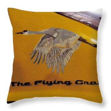 Throw Pillow featuring the painting The Flying Crane by Richard Le Page