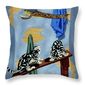 The Flying Frog Throw Pillow