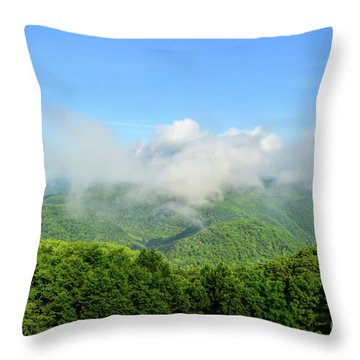 Throw Pillow featuring the photograph The Fog Rises Over The Bluestone Gorge - Pipestem State Park by Kerri Farley