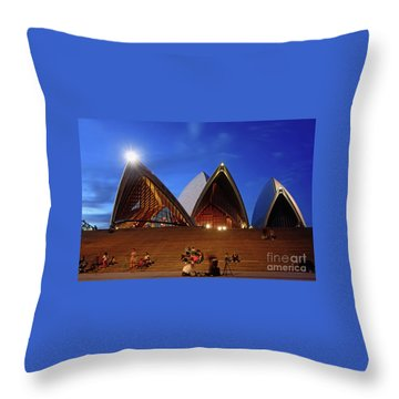 Throw Pillow featuring the photograph The Forecourt Sydney Opera House By Kaye Menner by Kaye Menner