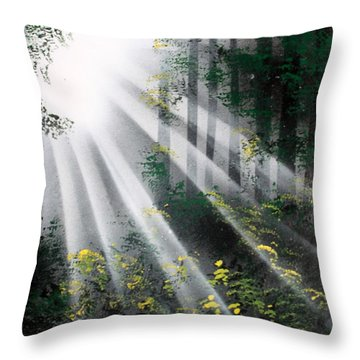 Throw Pillow featuring the painting The Forest 01 by Greg Moores