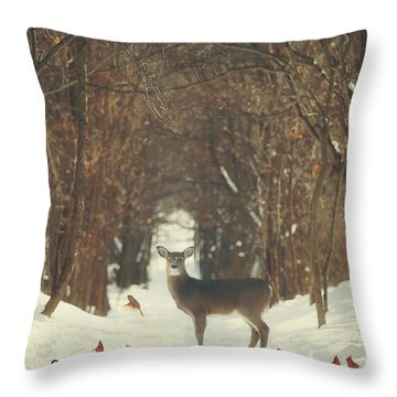 The Forest Of Snow White Throw Pillow by Carrie Ann Grippo-Pike