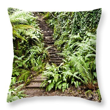 The Forest Stairwell Throw Pillow by Rae Tucker