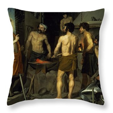 The Forge Of Vulcan Throw Pillow by Diego Velazquez