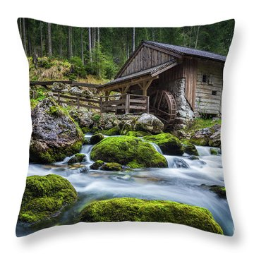 The Forgotten Mill Throw Pillow by JR Photography