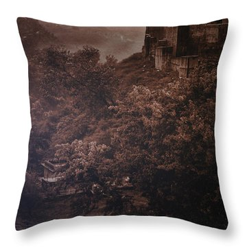 The Fort In Red Throw Pillow by Rajiv Chopra