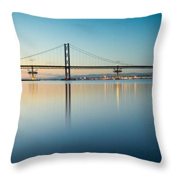 The Forth Road Bridge Throw Pillow by Ray Devlin
