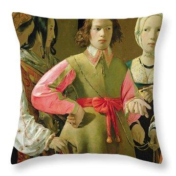 The Fortune Teller Throw Pillow by Georges de la Tour