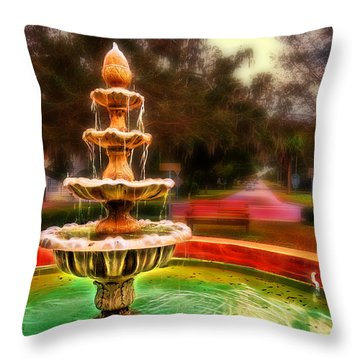 The Fountain At Oakland Throw Pillow