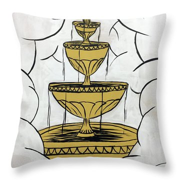 Throw Pillow featuring the painting The Fountain Of Life by Nathan Rhoads