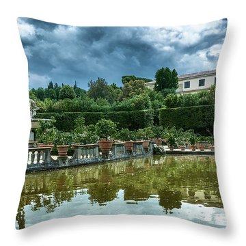 The Fountain Of The Ocean At The Boboli Gardens Throw Pillow