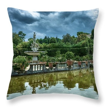 The Fountain Of The Ocean At The Boboli Gardens Throw Pillow