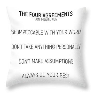 The Four Agreements #minismalism #shortversion Throw Pillow