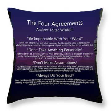 The Four Agreements Poster Throw Pillow