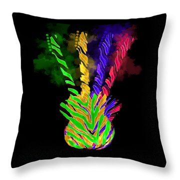 Throw Pillow featuring the digital art The Four Guitars by Guitar Wacky