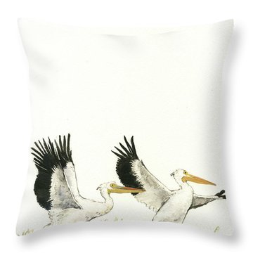 The Fox And The Pelicans Throw Pillow by Juan Bosco