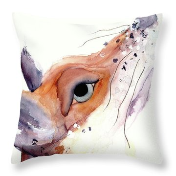 Throw Pillow featuring the painting The Fox by Dawn Derman