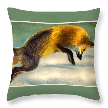 The Fox Hop Throw Pillow