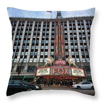 The Fox Theatre In Detroit Welcomes Charlie Sheen Throw Pillow by Gordon Dean II