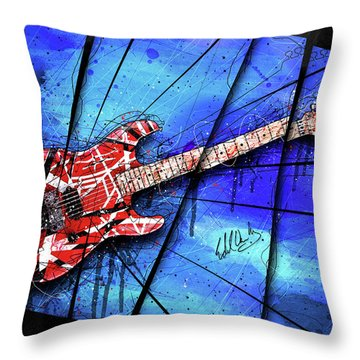 The Frankenstrat On Blue I Throw Pillow by Gary Bodnar