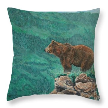 The Franklin Grizzly Bear Throw Pillow
