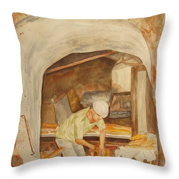 Throw Pillow featuring the painting The French Baker by Vicki  Housel