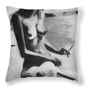 Throw Pillow featuring the painting The French Balcony by Jarko Aka Lui Grande