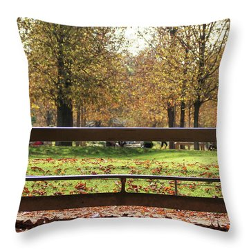 The French Bench And The Autumn Throw Pillow by Yoel Koskas