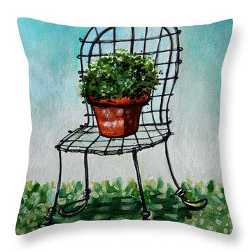 The French Garden Cafe Chair Throw Pillow