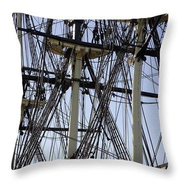 The Friendship Of Salem Tall Ship  In Salem Massachusetts Usa Throw Pillow by Erin Paul Donovan