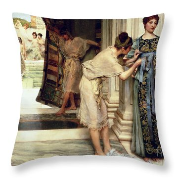 The Frigidarium Throw Pillow by Sir Lawrence Alma-Tadema
