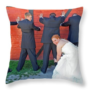 The Frisky Bride Throw Pillow by Keith Armstrong