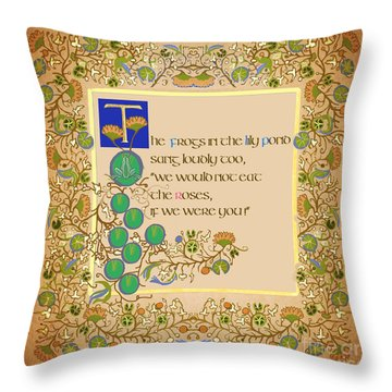 Throw Pillow featuring the digital art The Frogs In The Pond by Donna Huntriss