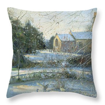 The Frozen Moat - Bedfield Throw Pillow by Timothy Easton