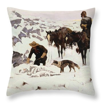 The Frozen Sheepherder Throw Pillow by Frederic Remington