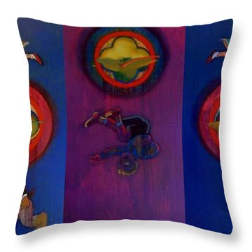 Throw Pillow featuring the painting The Fruit Machine Stops II by Charles Stuart
