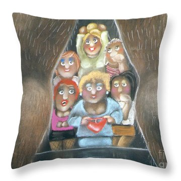 The Full Monty Throw Pillow by Caroline Peacock