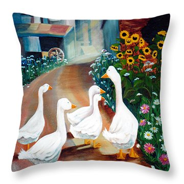 The Gaggle Throw Pillow by Renate Nadi Wesley