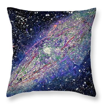 Throw Pillow featuring the painting the Galaxy  by Michael Lucarelli