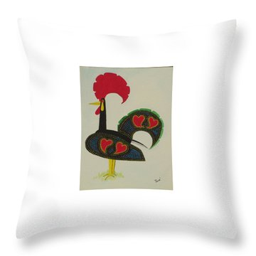 Throw Pillow featuring the painting The Galo De Barcelos by Hilda and Jose Garrancho