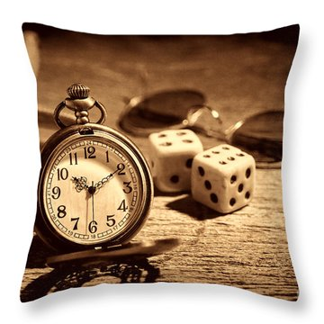 The Gambler's Watch Throw Pillow by American West Legend By Olivier Le Queinec
