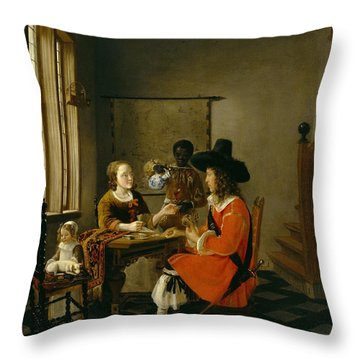The Game Of Cards Throw Pillow by Hendrik van der Burch