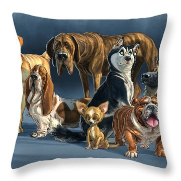 The Gang 2 Throw Pillow by Aaron Blaise