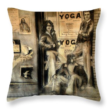 Throw Pillow featuring the drawing The Gang by Albert Puskaric